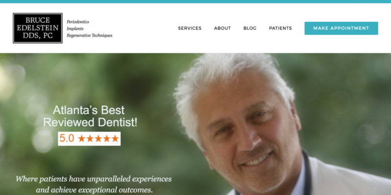 Dentist and Periodontist Website for Dr. Bruce Edelstein by TecAdvocates