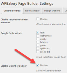 WordPress 5 - Disable Gutenberg with WPBakery