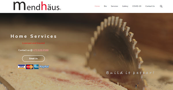 Mendhaus Home Services website by TecAdvocates